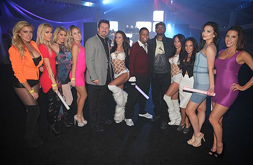 DJ Paul Nautica and the D executive Richard Wilk with DLVEC dancers