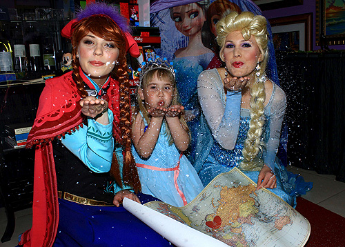 Ariez Black celebrates her wish reveal with Anna and Elsa from Frozen