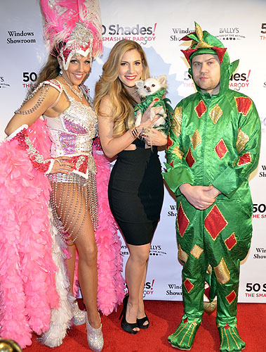 Maren Wade holding Mr Piffles with Piff the Magic Dragon 50 Shades Parody 4336