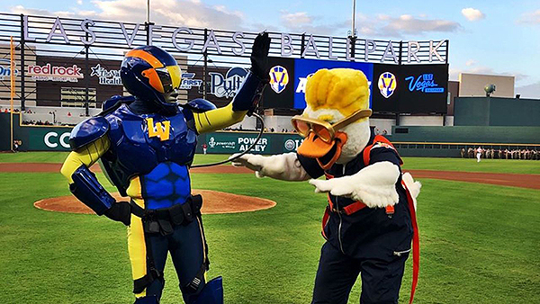 Aviator and Spruce, the mascots of the Las Vegas Aviators. Photo courtesy of Las Vegas Ballpark