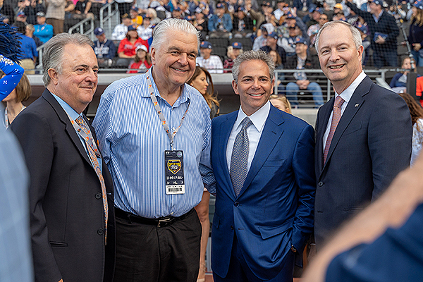 Don Logan, Governor Steve Sisolak, David R. Weinreb of the Howard Hughes Corporation and Steve Hill of the LVC&VA  at the Las Vegas Aviators home opener. - Photo courtesy of HHC